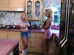 Lesbian Strap-on Sex In The Kitchen