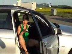 Zuzinka Masturbating At A Gas Station