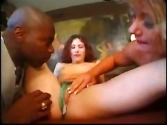 Interracial Threesome With Gloves