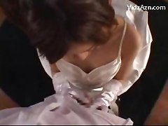 Girl In Wedding Dress On Her Knees Giving Blowjob Rimming