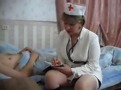 Mature Doctor Gives The Aching Guy A Good Blowjob