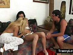 Blonde Wife Shares Her Husband With A Brunette Tranny