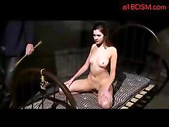 Slim Girl Sucking And Fucking Herslf With Dildo Spanked Pussy Stimulated With Vibrator By Master In The Dungeon
