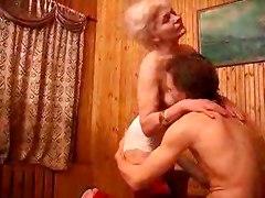 Hot Granny And Boy Take Some Vodka