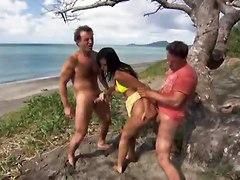 Simone Peach Pussy Pounded On A Beach